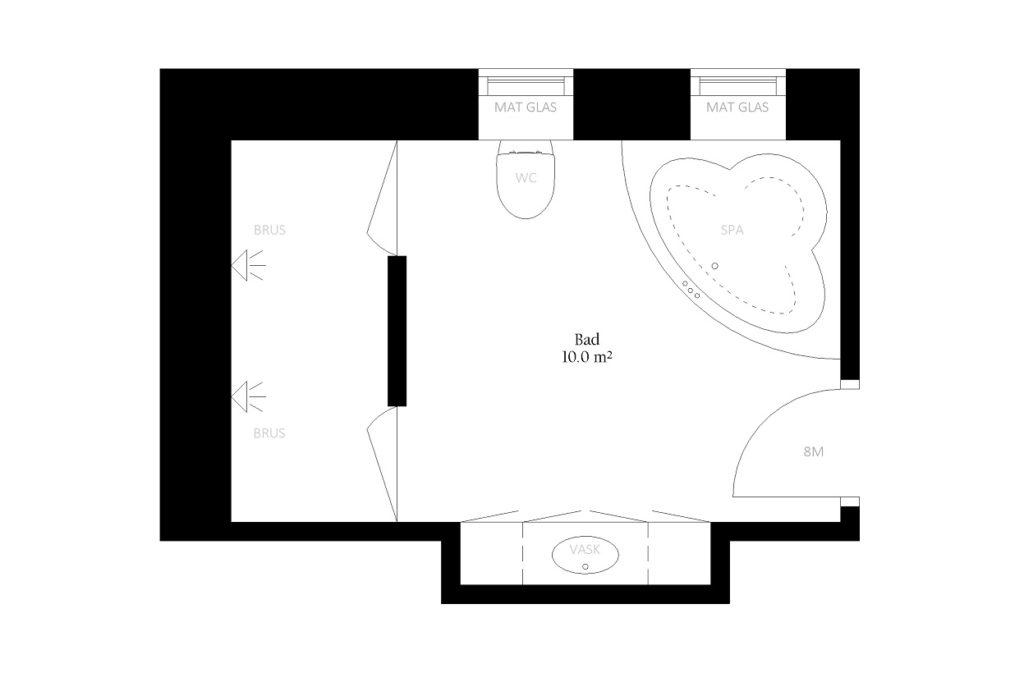 Toilet badeværelse bad størrelse rum indretning m2
