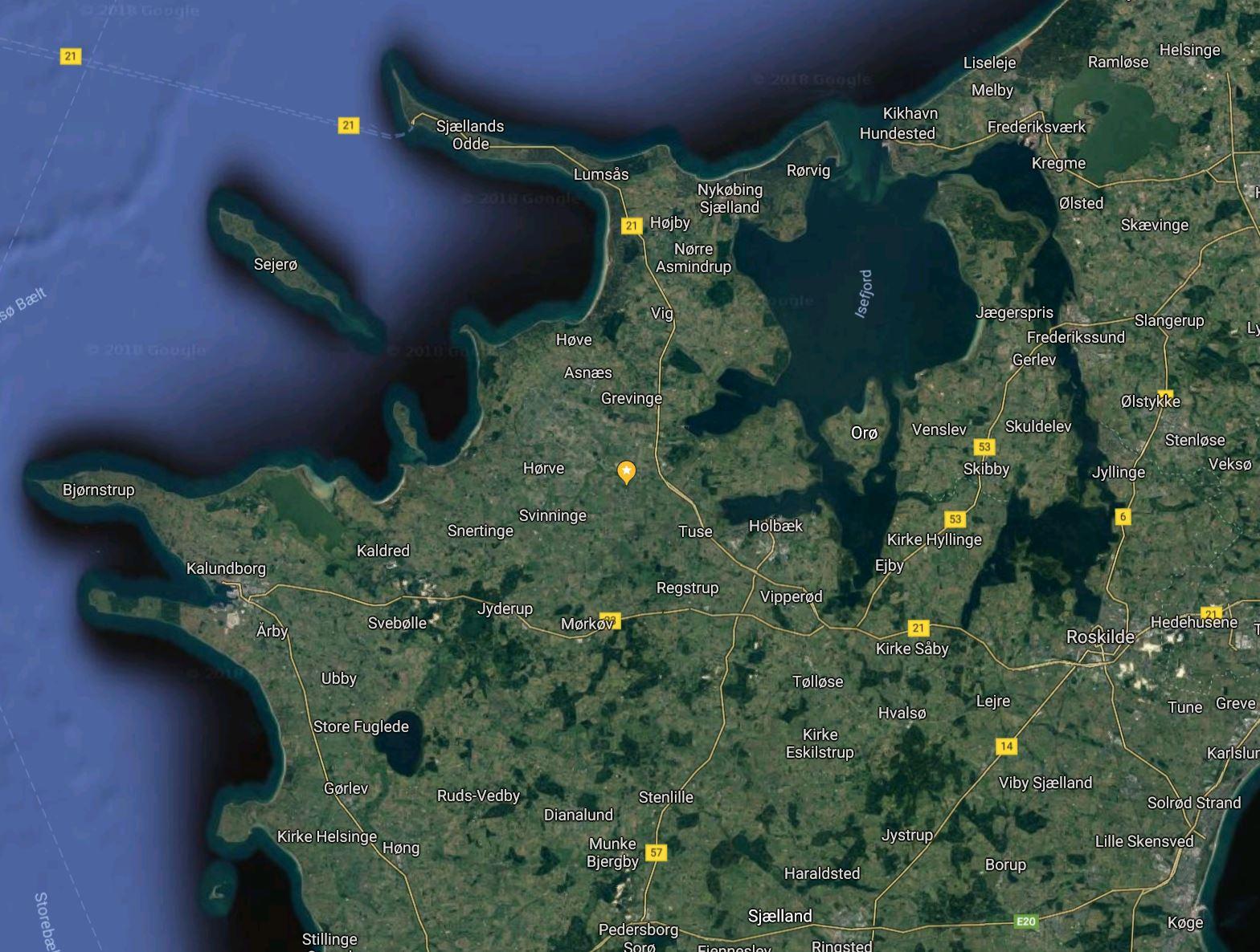 Beliggenhed hele DK Danmark sjælland jylland fyn øerne