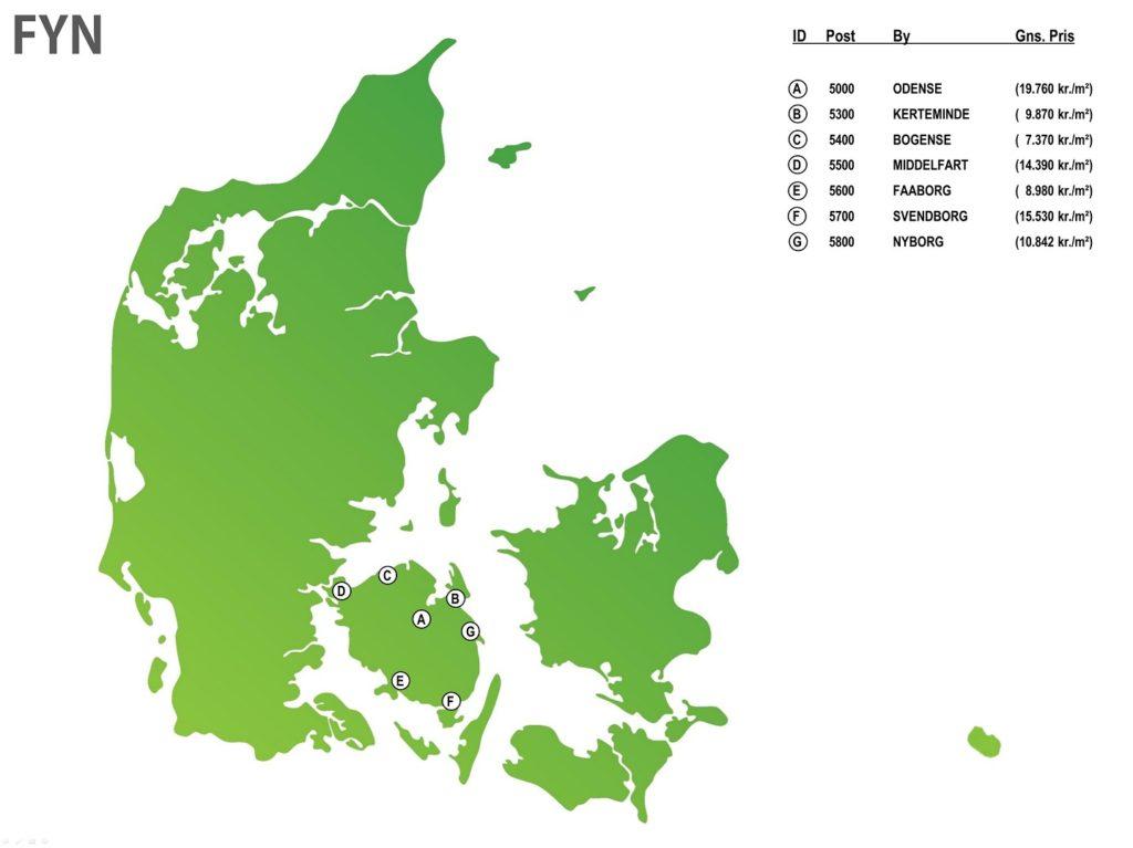 Beliggenhed byggegrund hus Danmark DK fyn