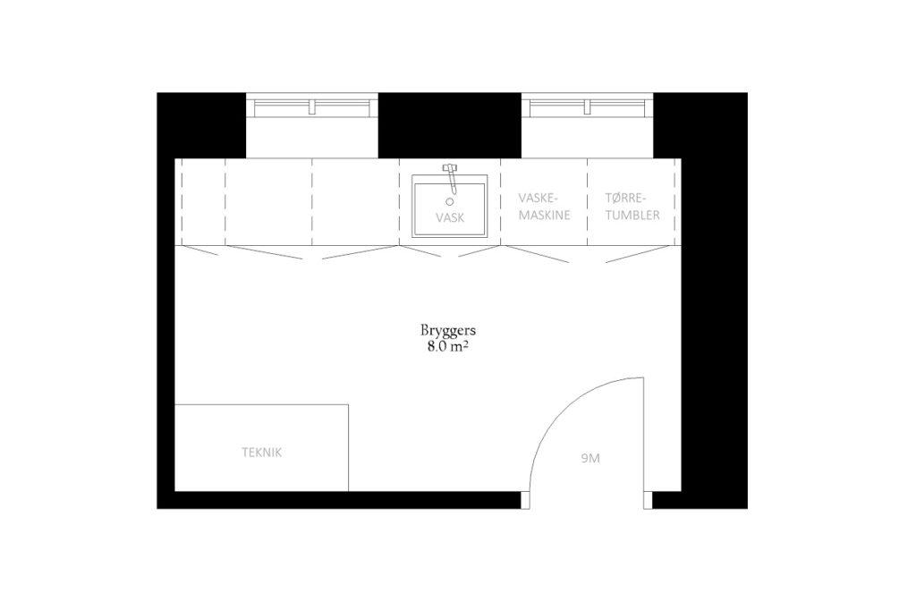 Bryggers størrelse rum indretning m2