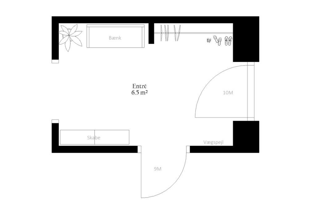 Entré entre gang størrelse rum indretning m2