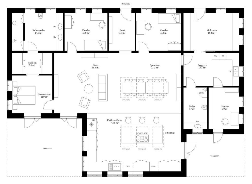 Plantegning indretning hus hjem bolig areal rum