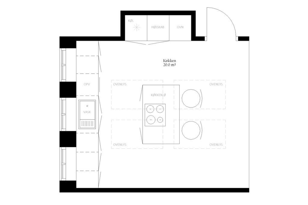 Køkken alrum størrelse rum indretning m2