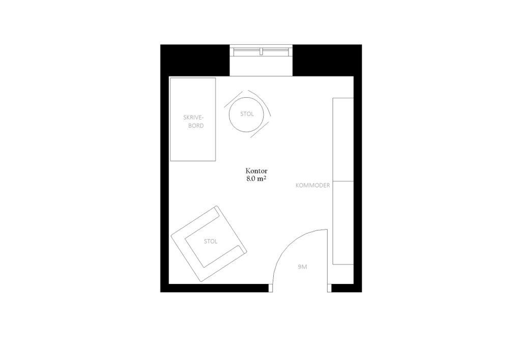 Kontor størrelse rum indretning m2