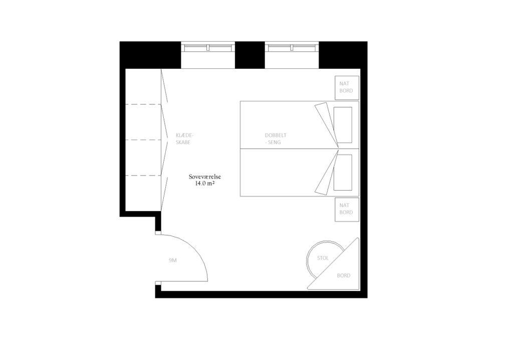 Soveværelse walk in størrelse rum indretning m2