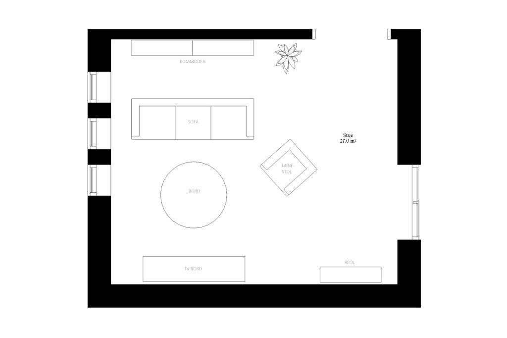 Stue alrum størrelse rum indretning m2