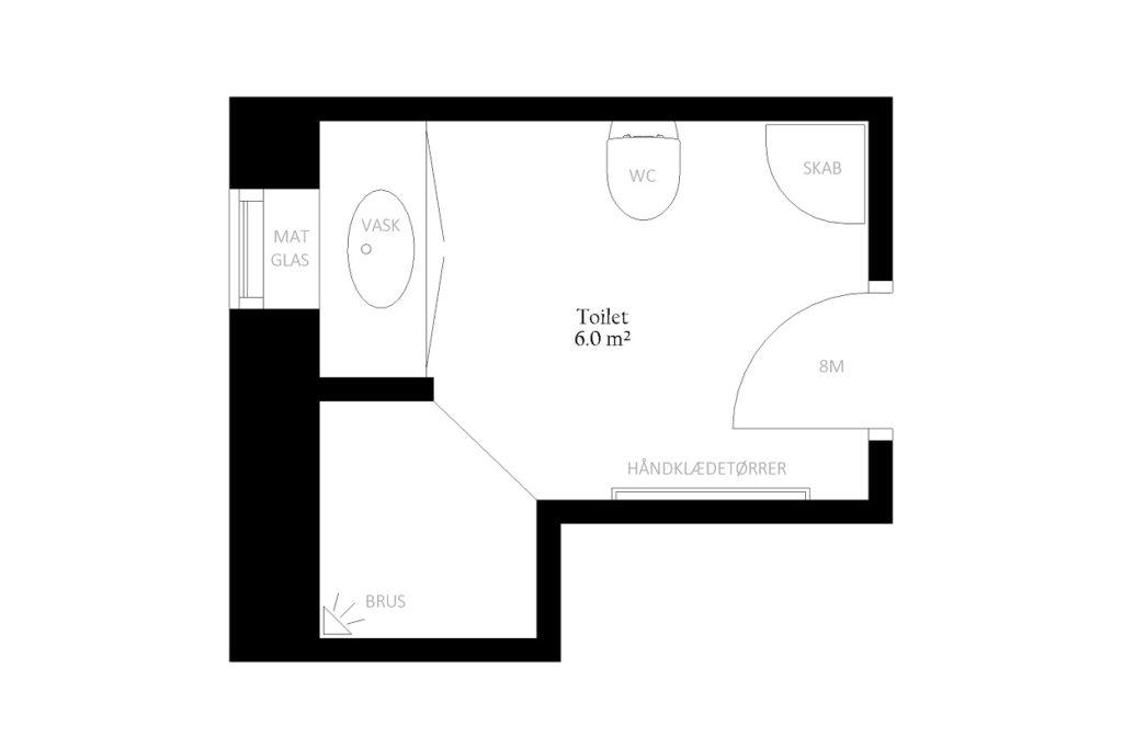 Toilet bad størrelse rum indretning m2