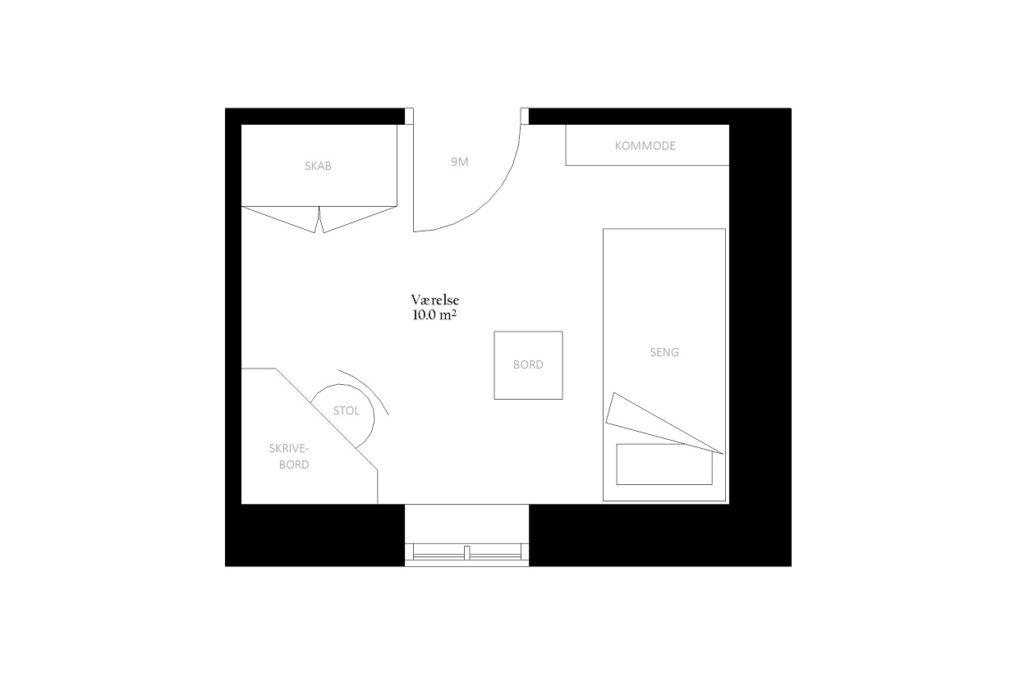 Værelse størrelse rum indretning m2