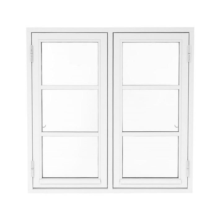Oplukkelig vindue bondehusvindue 2 fag med sprosser hvid træ alu