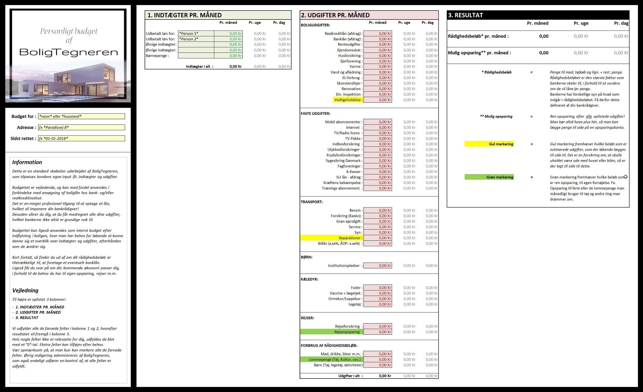 Personligt detaljeret bolig budget af husstandens økonomi for husejer