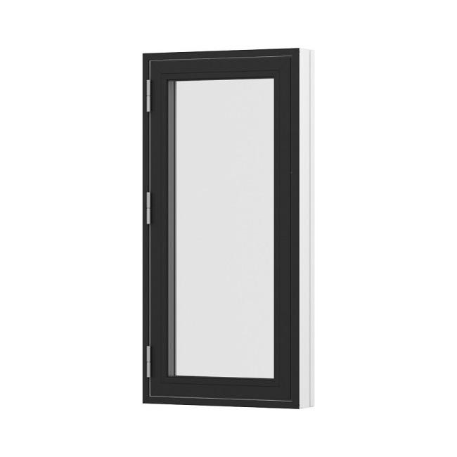 Sidehængt oplukkelig enkelt vindue sort hvid