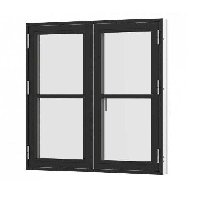 Sidehængt oplukkelig vindue med 2 fag og sprosser sort hvid træ alu