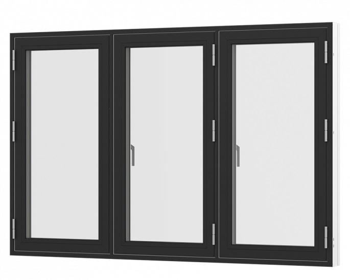 Sidehængt oplukkelig vindue med 3 fag sort hvid træ alu