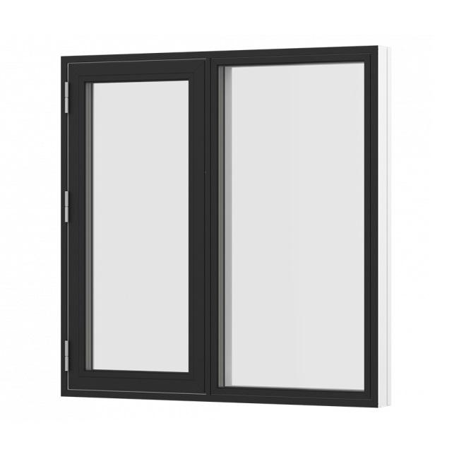 Sidehængt oplukkelig vindue med 1 fag og fast parti sort hvid træ alu