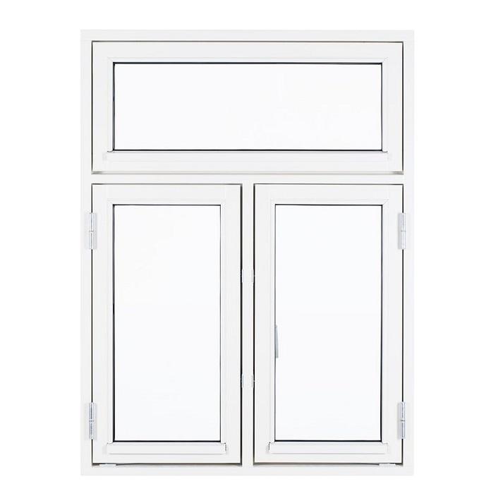 Sidehængt oplukkelig vindue med 2 fag og vindue i top hvid træ alu